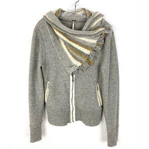 Free People wool cropped cardigan sweater cowl